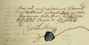 Christina Pipers namnteckning från köpet av Torups gård, 1737