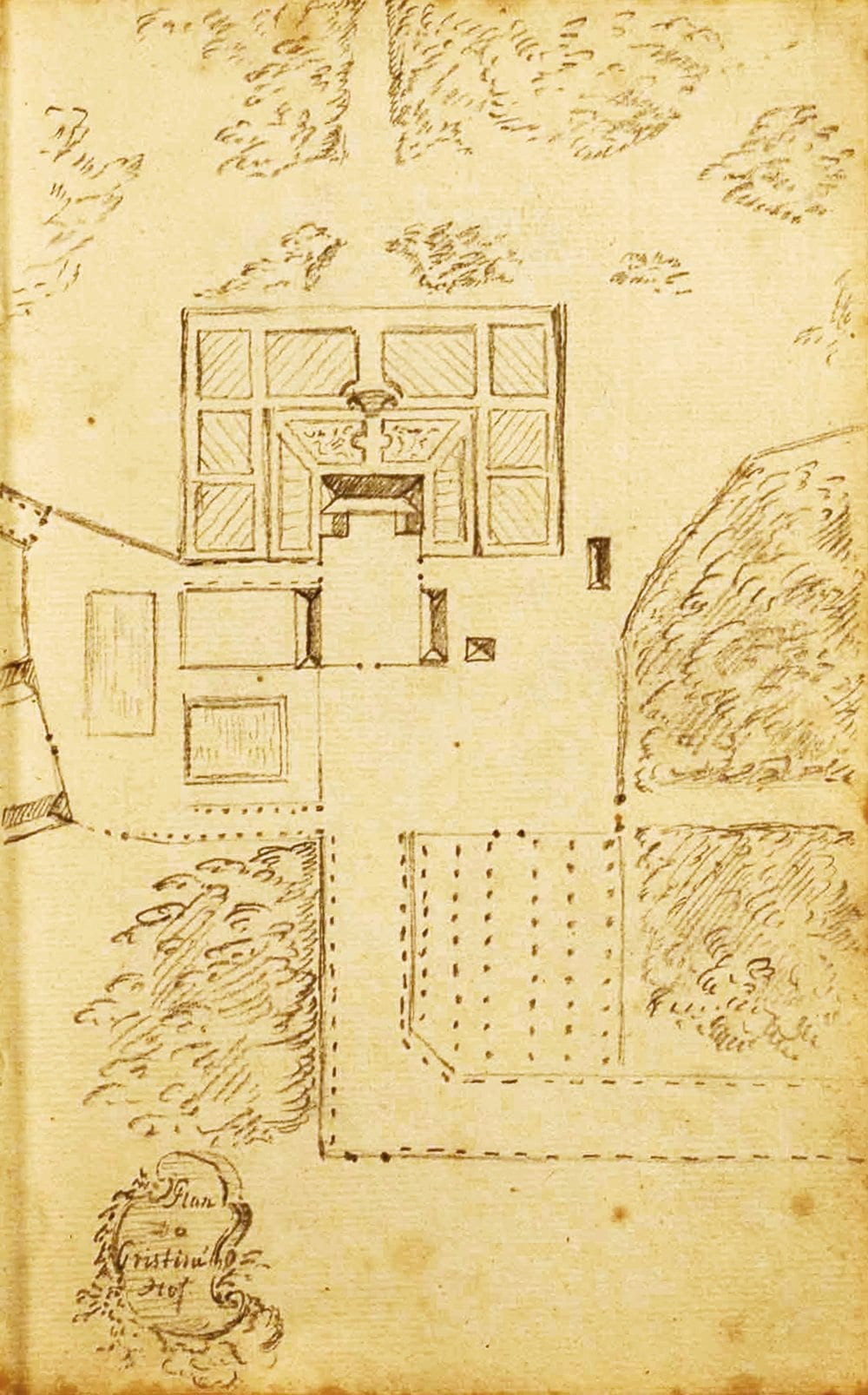 Barnekow skiss av Christinehof slutet av 1700-talet