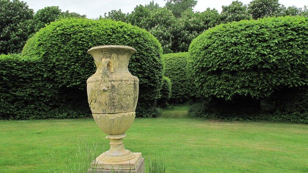 Krageholms 300-åriga labyrint av avenbok anlades på Christina Pipers tid. Bilden tagen från labyrintens centrum.