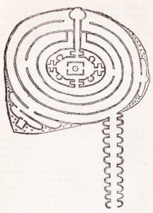Linnés teckning av labyrinten i Toppeladugårds trädgård. Mitt uti stod ett åttkantigt lusthus, där stolparna eller hörnen voro av vackra lindar, väggarna av klippt almhäck samt under fönstergluggarna Liguster-häckar. Mitt uti huset stod en lind som gjorde taket.