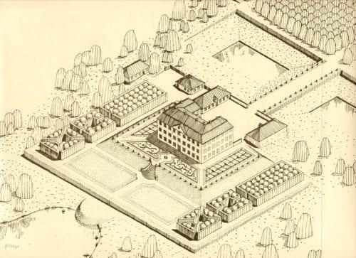 Som Christinehof kan ha sett ut på 1770-talet. Skiss ur projektarbetet Christinehofs Barockträdgård, Alnarp 1990.