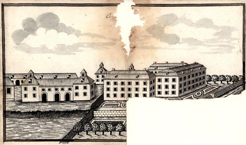 1790. I en starkt förskönad teckning av Christinehofs byggnader utförd av Matthias Flensburg ca 1790 framställs dock en trädgård som troligtvis inte skiljer sig alltför mycket från den verkliga anläggningen. Här ser vi den terrasserade trädgården i två plan som omger slottets tre sidor. Den övre terrassen med sirliga kvarter omges av en stödmur och en trappa förbinder de båda terrasserna.