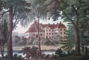 Mellan träden skymtar en av dammarna på Ulrich Thersners akvarell från ca 1817. I J.L Gillbergs bok över Christianstads län 1767 beskrivs de som fiskedammar.