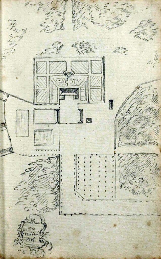 På Barnekows karta från ca 1767 är lindplanen utmärkt med ett fält fyllt med prickar i jämna rader. Varje prick är en lind