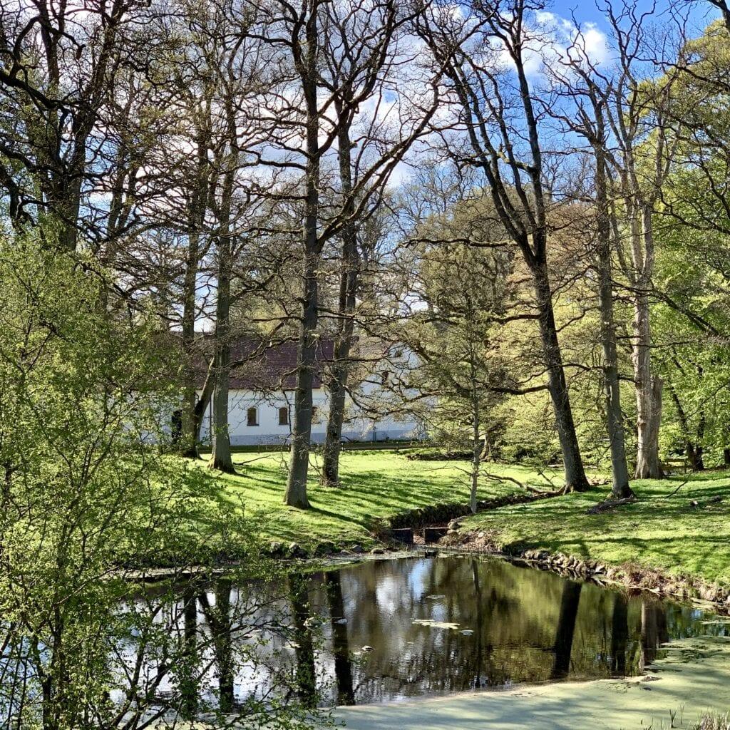 Trädgårdens södra damm. I bakgrunden skymtar Christinehofs gård