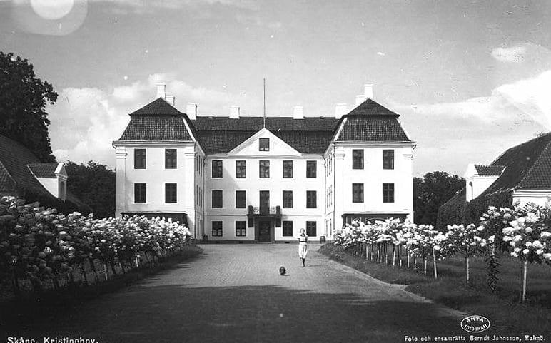 Uppfarten till slottet kantades av rader av syrenhortensia på 1940-talet