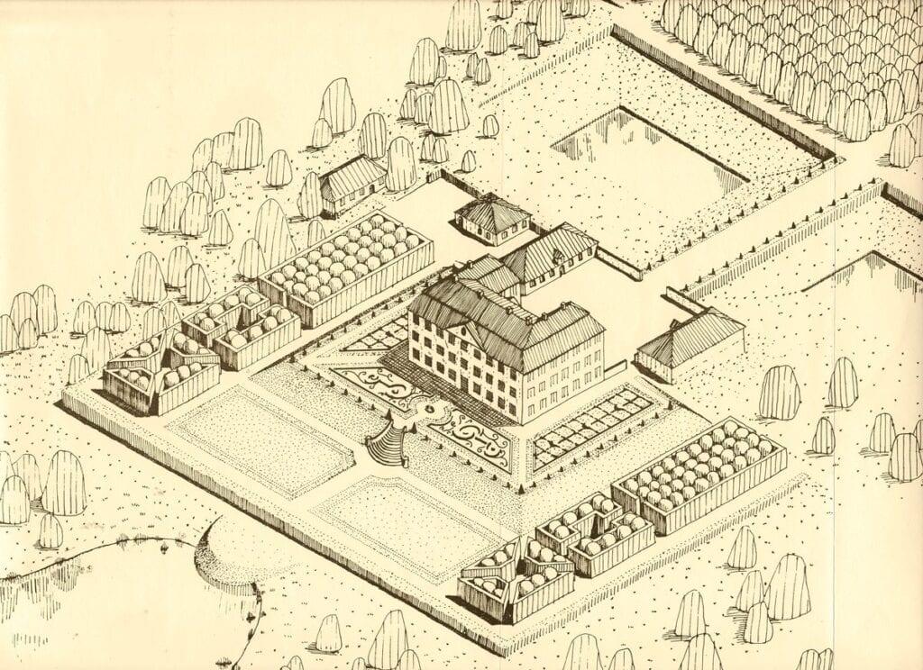 Christinehof som det kan ha gestaltat sig under 1700-talet. Teckningen ingår i projektarbetet Christinehofs barockträdgård från 1990 som utfördes av studenter vid Alnarp.