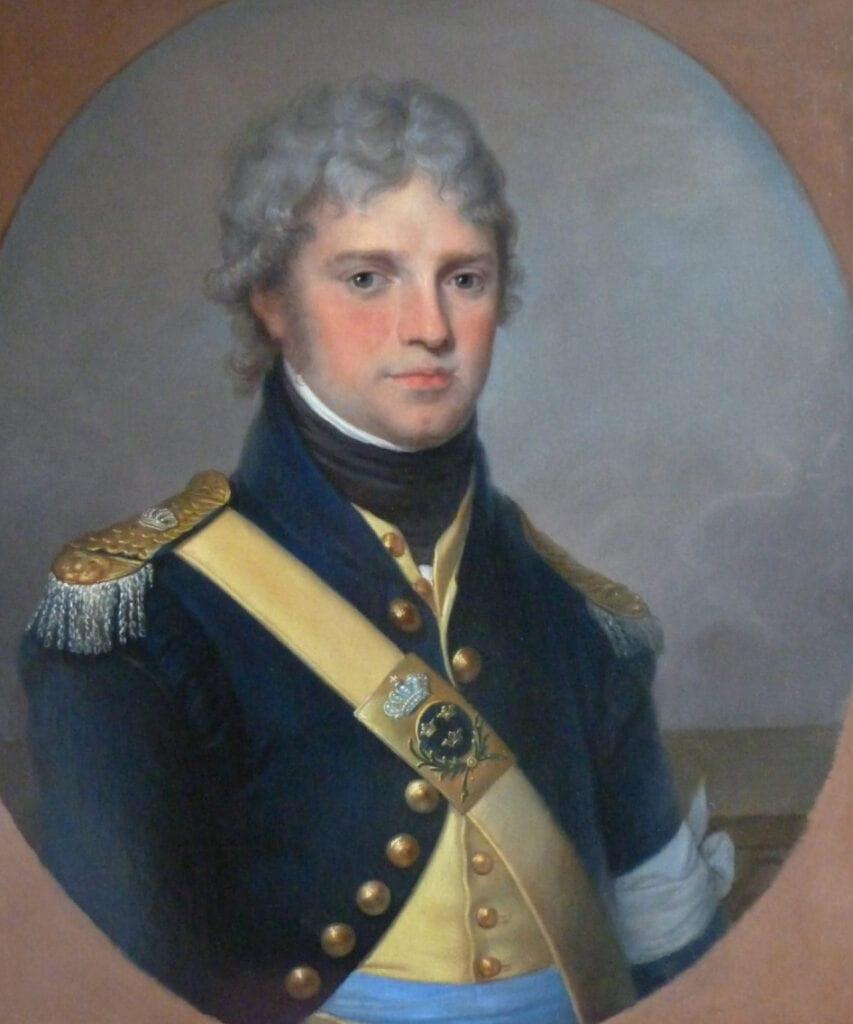 Så här såg Carl Claes ut som 30-åring, år 1800, klädd i livdrabanternas uniform. Porträttet är målat av Angelica Kauffmann