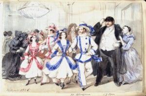 Fritz Dardels teckning nedan visar Carl Piper på maskerad i Stockholm 1856.